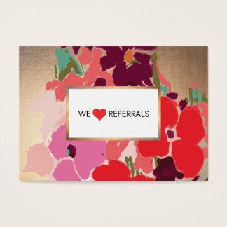 Colorful Artistic Floral, Gold Elegant Referral Business Card