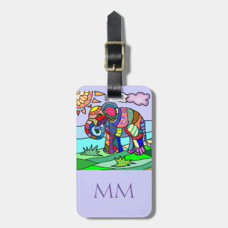 Colorful artistic folclore elephant with monogram luggage tag