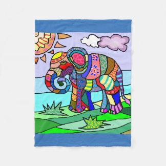 Colorful artistic patterned beautiful elephant fleece blanket