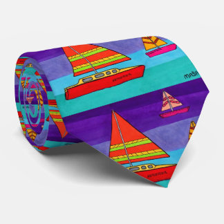Colorful Artistic Watercolor Ocean Sailboat Boho Tie