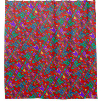 Colorful Artsy Red Teal Purple Abstract Shower Curtain