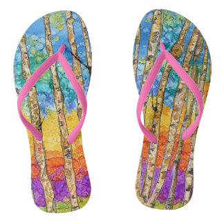 Colorful Aspens on Flip Flops with Slim Straps Thongs