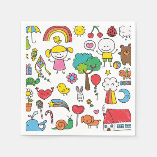 Colorful Assorted Children's Drawing | Napkin Disposable Napkin