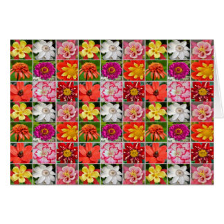 Colorful assorted flower collage greeting card