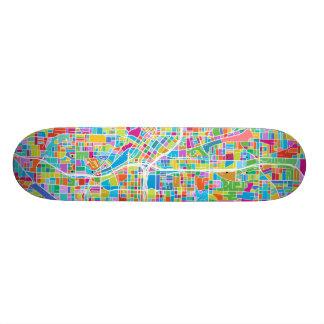 Colorful Atlanta Map 19.7 Cm Skateboard Deck