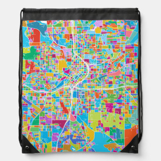 Colorful Atlanta Map Drawstring Bag