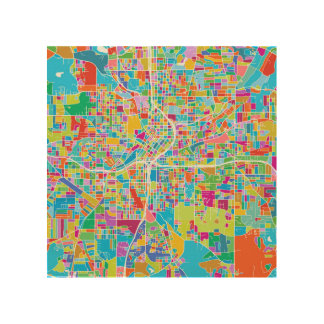 Colorful Atlanta Map Wood Wall Decor