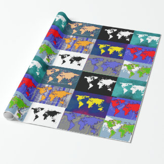 colorful atlas of the world wrapping paper