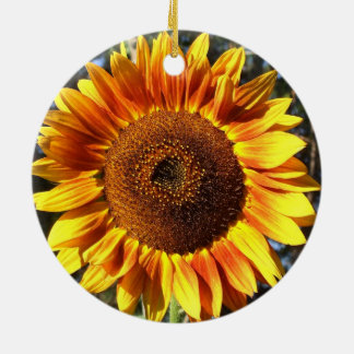Colorful Autumn Beauty Sunflower in the Round Round Ceramic Decoration