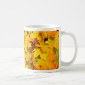 Colorful autumn leafs mugs