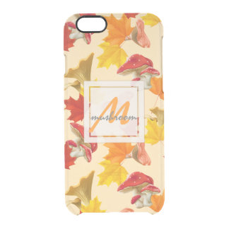 Colorful Autumn Leaves and Mushrooms Monogram Clear iPhone 6/6S Case