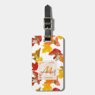 Colorful Autumn Leaves and Mushrooms Monogram Luggage Tag