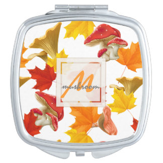 Colorful Autumn Leaves and Mushrooms Monogram Mirror For Makeup
