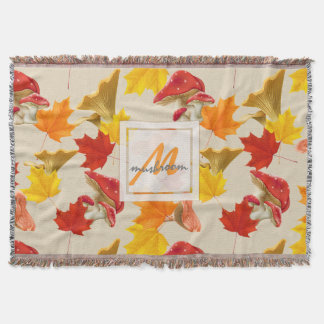 Colorful Autumn Leaves and Mushrooms Monogram Throw Blanket