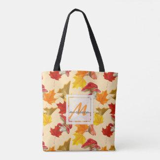 Colorful Autumn Leaves and Mushrooms Monogram Tote Bag