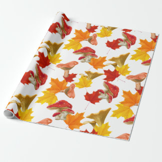 Colorful Autumn Leaves and Mushrooms Wrapping Paper