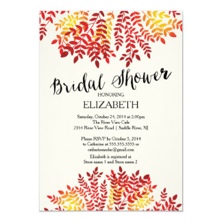 Colorful Autumn Leaves Bridal Shower Invitation