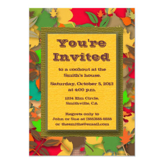 Colorful Autumn Leaves Fall Cookout Invitation
