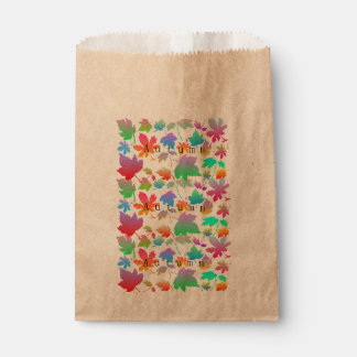 Colorful autumn leaves favour bag