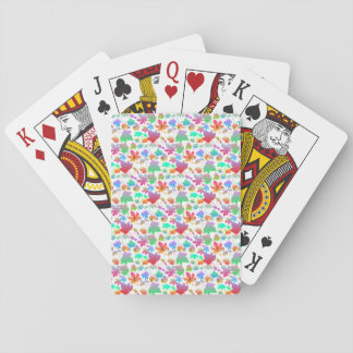 Colorful autumn leaves playing cards