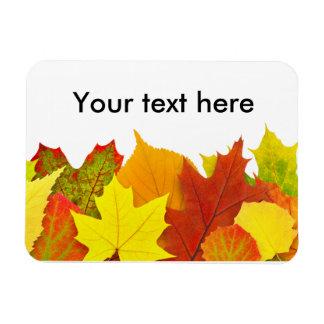 Colorful autumn leaves rectangular photo magnet