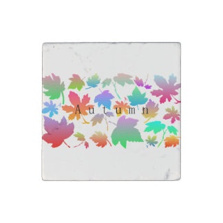 Colorful autumn leaves stone magnet
