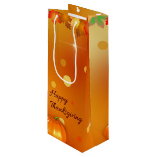 Colorful Autumn Leaves Thanksgiving Wine Gift Bag