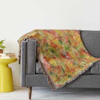 Colorful autumn leaves throw blanket