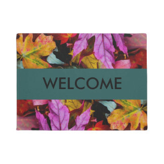 Colorful Autumn Leaves Welcome Mat