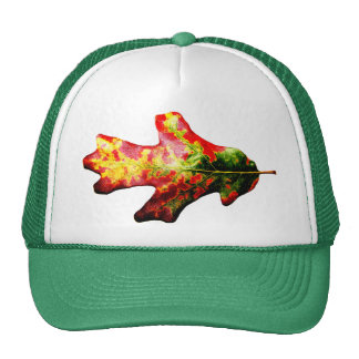 Colorful Autumn Oak Leaf Trucker Hats