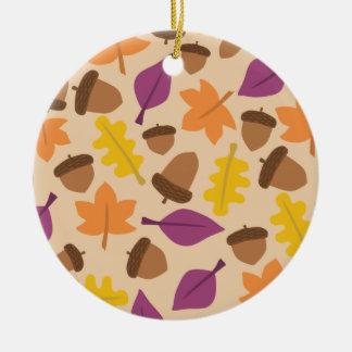 Colorful autumn pattern round ceramic decoration