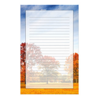 Colorful Autumn Trees Landscape Fall Season Stationery Paper