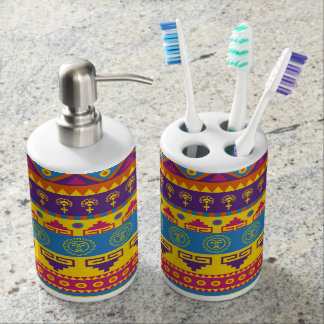 Colorful Aztec Abstract Pattern Bathroom Set
