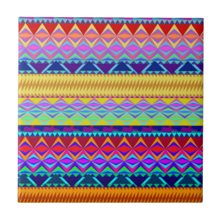 Colorful Aztec Design Ceramic Tile