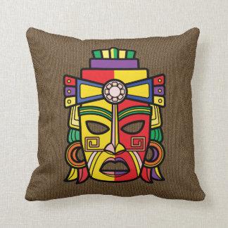 Colorful Aztec Inca Mayan Mask Cushion