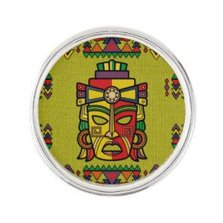 Colorful Aztec Inca Mayan Mask Lapel Pin