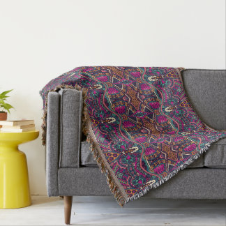 Colorful Aztec pattern home decor throw blanket