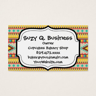 Colorful Aztec Tribal Native American Diamonds Business Card