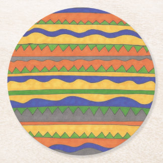 Colorful Aztec Tribal Pattern Round Paper Coaster