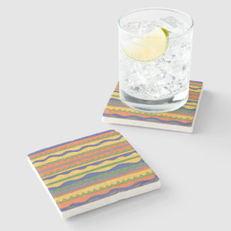 Colorful Aztec Tribal Pattern Stone Beverage Coaster