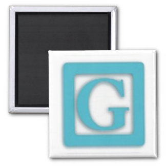 Colorful Baby Block G Square Magnet