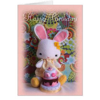 Colorful Baby Bunny with Cake Birthday Card
