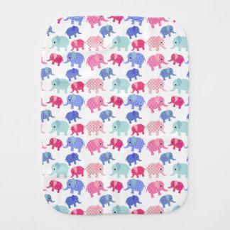 Colorful Baby Elephants Burp Cloth