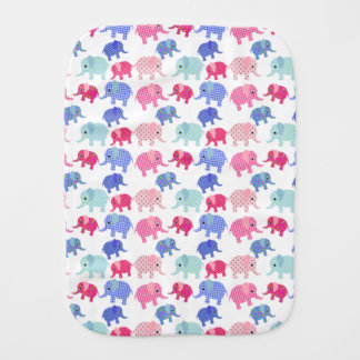 Colorful Baby Elephants Burp Cloths