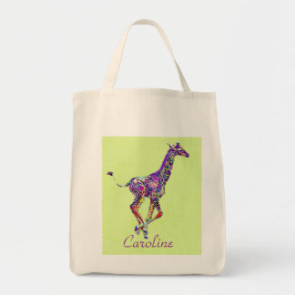 colorful baby giraffe tote bag