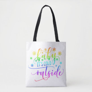 Colorful Baby It's Cold Outside Holiday | Tote Bag