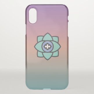 Colorful background with a flower icon iPhone x case