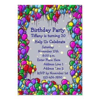 Colorful Balloons Birthday Party Invitation