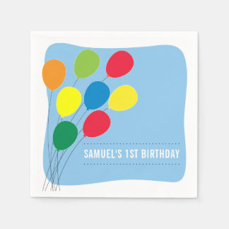 Colorful Balloons Boys 1st Birthday Party Paper Serviettes