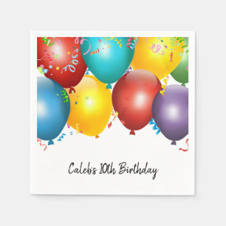 Colorful Balloons & Confetti Birthday Party Disposable Serviettes